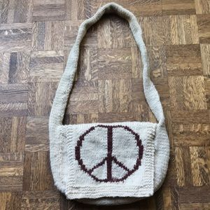 Peace sign purse with velcro closures